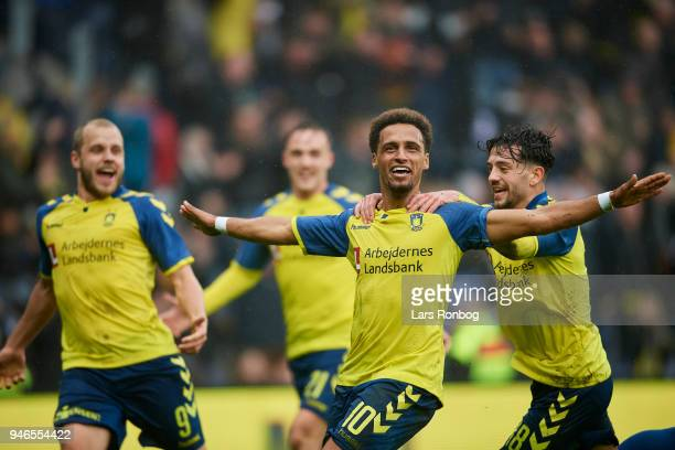 Hany Mukhtar and Besar Halimi of Brondby IF celebrate after scoring their second goal during the Danish Alka Superliga match between Brondby IF and...