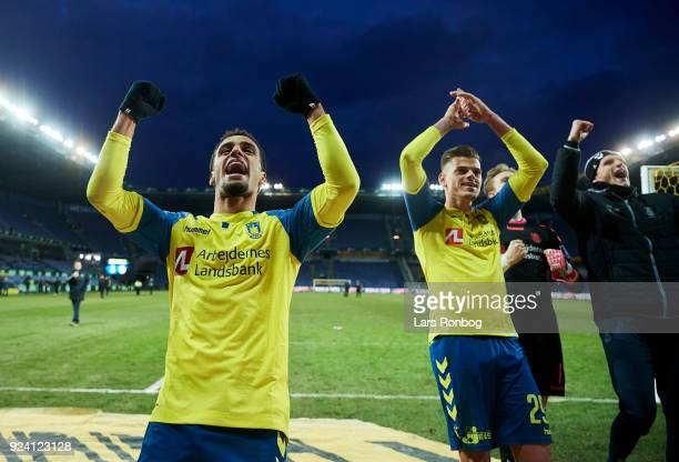 Hany Mukhtar and Jan Kliment of Brondby IF celebrate after the Danish Alka Superliga match between Brondby IF and FC Helsingor at Brondby Stadion on...