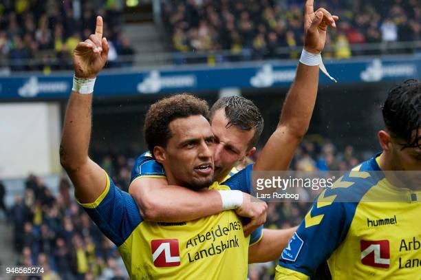 Hany Mukhtar and Kamil Wilczek of Brondby IF celebrate after scoring their second goal during the Danish Alka Superliga match between Brondby IF and...