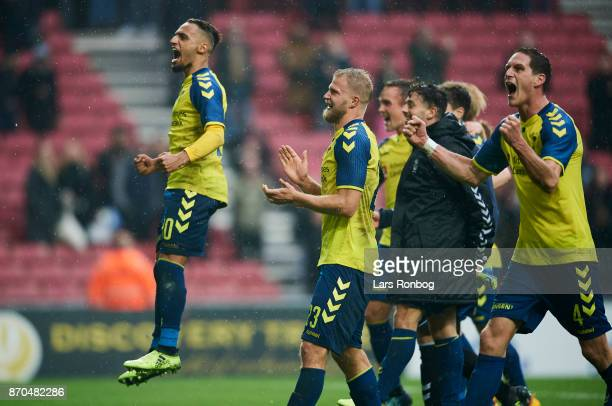 Hany Mukhtar and Paulus Arajuuri of Brondby IF celebrate after the Danish Alka Superliga match between FC Copenhagen and Brondby IF at Telia Parken...
