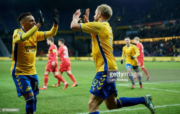 Hany Mukhtar and Teemu Pukki of Brondby IF celebrate after scoring their second goal during the Danish Alka Superliga match between Brondby IF and FC...