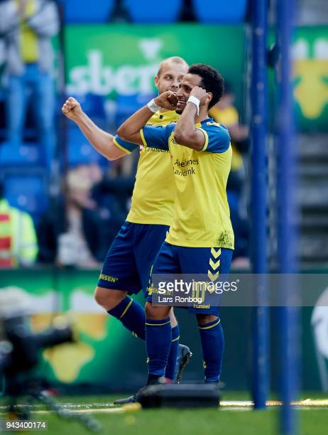 Hany Mukhtar and Teemu Pukki of Brondby IF celebrate after scoring their fourth goal during the Danish Alka Superliga match between Brondby IF and AC...