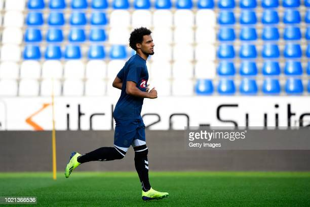 Hany Mukhtar midfielder of Brondby during a training session before the UEFA Europa League PlayOffs 1st Leg match between KRC Genk and Brondby IF on...