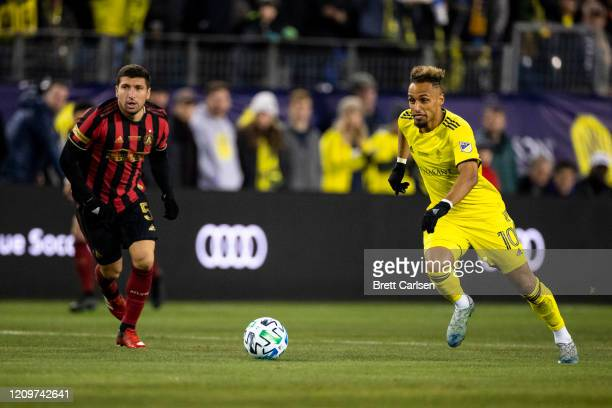 Hany Mukhtar o fthe Nashville SC moves with the ball during the first half against the Atlanta United at Nissan Stadium on February 29 2020 in...
