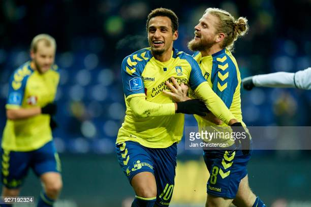Hany Mukhtar of Brondby IF and Kasper Fisker of Brondby IF celebrate after the 10 goal from Hany Mukhtar during the Danish Alka Superliga match...