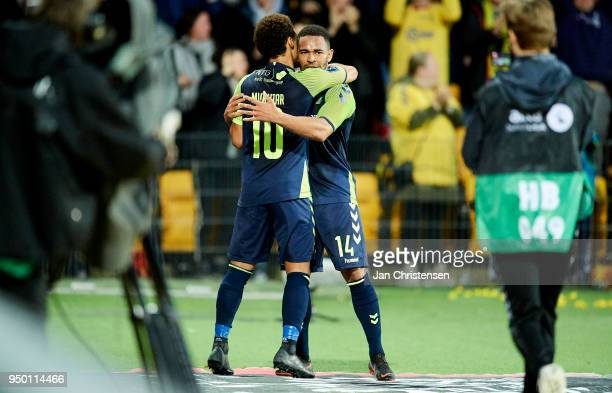 Hany Mukhtar of Brondby IF and Kevin Mensah of Brondby IF celebrate after the 13 goal from Kevin Mensah during the Danish Alka Superliga match...