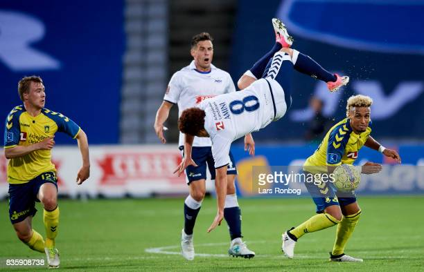 Hany Mukhtar of Brondby IF and Mustafa Amini of AGF Aarhus compete for the ball during the Danish Alka Superliga match between AGF Aarhus and Brondby...
