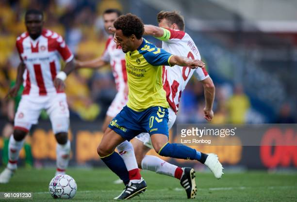 Hany Mukhtar of Brondby IF and Rasmus Wurtz of AaB Aalborg compete for the ball during the Danish Alka Superliga match between Brondby IF and AaB...