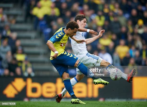 Hany Mukhtar of Brondby IF and Robert Skov of FC Copenhagen compete for the ball during the Danish Alka Superliga match between Brondby IF and FC...