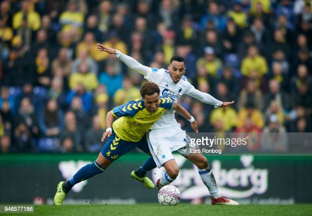 Hany Mukhtar of Brondby IF and Zeca of FC Copenhagen compete for the ball during the Danish Alka Superliga match between Brondby IF and FC Copenhagen...