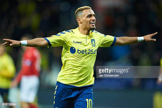 Hany Mukhtar of Brondby IF celebrate after his 10 goal during the Danish Alka Superliga match between Brondby IF and Silkeborg IF at Brondby Stadion...