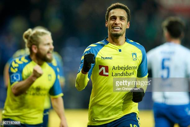 Hany Mukhtar of Brondby IF celebrate after his 10 goal during the Danish Alka Superliga match between Brondby IF and OB Odense at Brondby Stadion on...