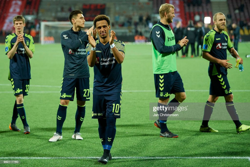Hany Mukhtar of Brondby IF celebrate after the Danish Alka Superliga match between FC Nordsjalland and Brondby IF at Right to Dream Park on April 22, 2018 in Farum, Denmark.