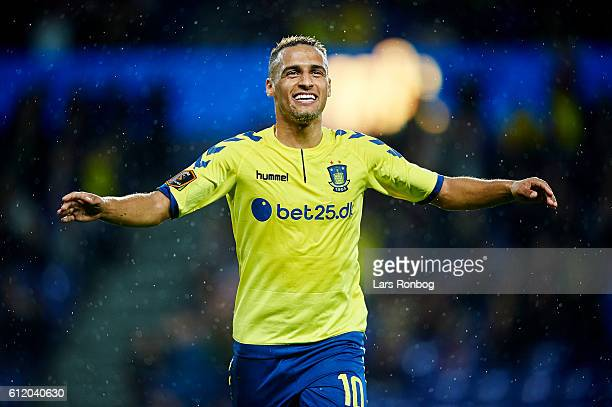 Hany Mukhtar of Brondby IF celebrates after scoring their second goal during the Danish Alka Superliga match between Brondby IF and Randers FC at...