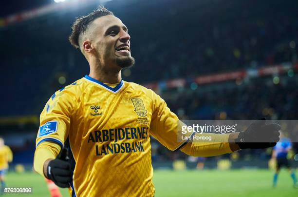 Hany Mukhtar of Brondby IF celebrates after scoring their second goal during the Danish Alka Superliga match between Brondby IF and FC Nordsjalland...