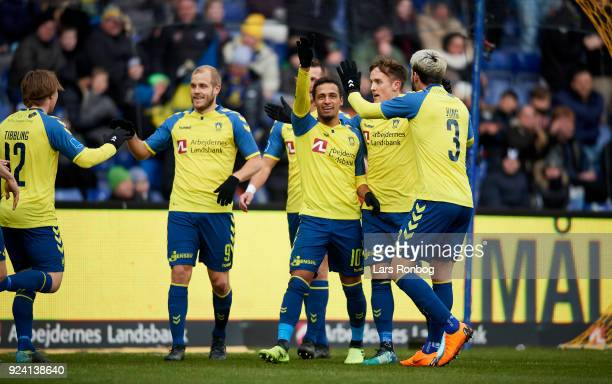 Hany Mukhtar of Brondby IF celebrates after scoring their second goal during the Danish Alka Superliga match between Brondby IF and FC Helsingor at...