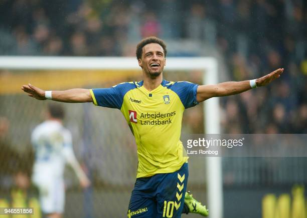 Hany Mukhtar of Brondby IF celebrates after scoring their second goal during the Danish Alka Superliga match between Brondby IF and FC Copenhagen at...