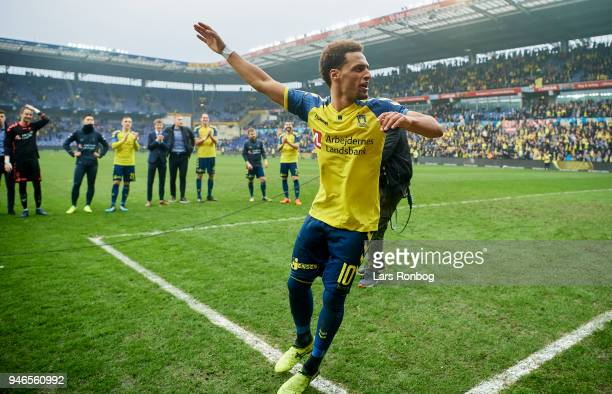 Hany Mukhtar of Brondby IF celebrates after the Danish Alka Superliga match between Brondby IF and FC Copenhagen at Brondby Stadion on April 15 2018...