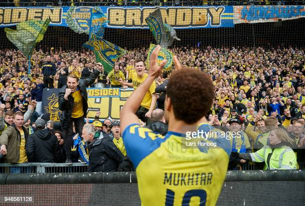 Hany Mukhtar of Brondby IF celebrates with the fans after the Danish Alka Superliga match between Brondby IF and FC Copenhagen at Brondby Stadion on...