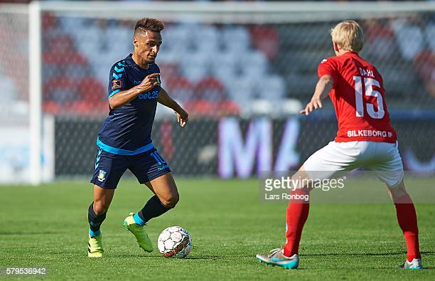 Hany Mukhtar of Brondby IF controls the ball during the Danish Alka Superliga match between Silkeborg IF and Brondby IF at Mascot Park on July 24...