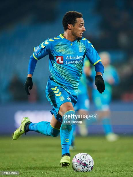 Hany Mukhtar of Brondby IF controls the ball during the Danish Alka Superliga match between AaB Aalborg and Brondby IF at Aalborg Portland Park on...