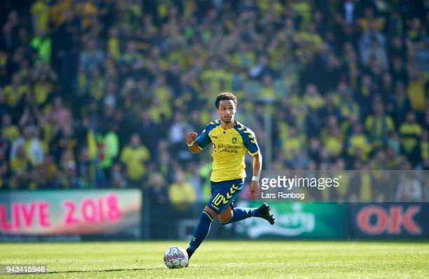 Hany Mukhtar of Brondby IF controls the ball during the Danish Alka Superliga match between Brondby IF and AC Horsens at Brondby Stadion on April 8...
