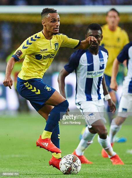 Hany Mukhtar of Brondby IF controls the ball during the UEFA Europa League qualifier match between Brondby IF and Hertha Berlin at Brondby Stadion on...