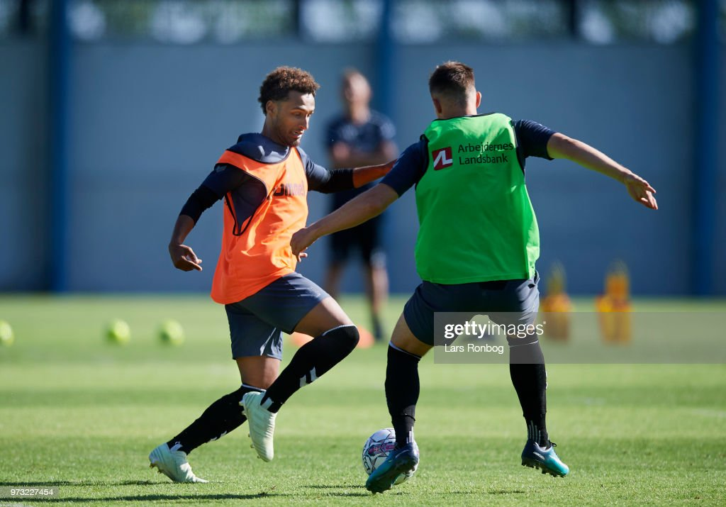 Hany Mukhtar of Brondby IF in action during the Brondby IF training session at Brondby Stadion on June 13, 2018 in Brondby, Denmark.