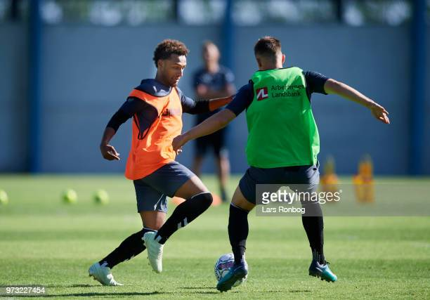Hany Mukhtar of Brondby IF in action during the Brondby IF training session at Brondby Stadion on June 13 2018 in Brondby Denmark