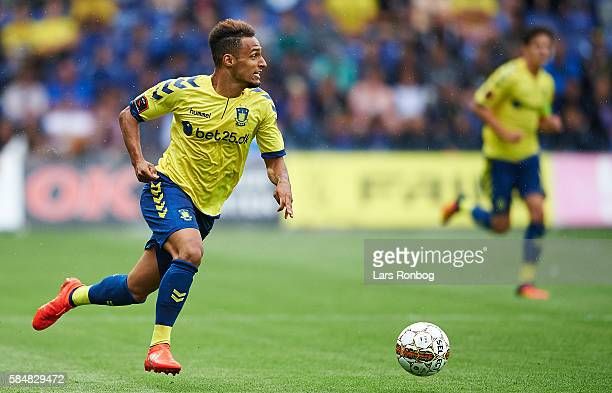 Hany Mukhtar of Brondby IF in action during the Danish Alka Superliga match between Brondby IF and AC Horsens at Brondby Stadion on July 31 2016 in...