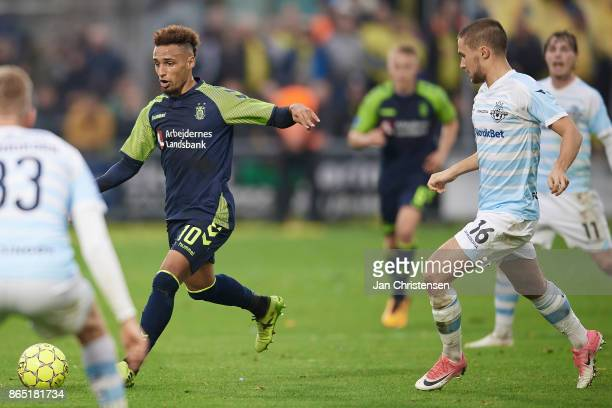 Hany Mukhtar of Brondby IF in action during the Danish Alka Superliga match between FC Helsingor and Brondby IF at Helsingor Stadion on October 22...
