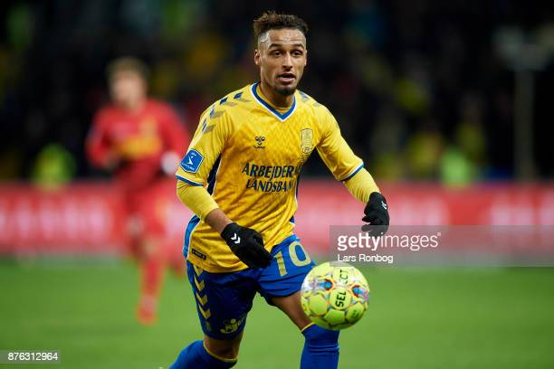 Hany Mukhtar of Brondby IF in action during the Danish Alka Superliga match between Brondby IF and FC Nordsjalland at Brondby Stadion on November 19...