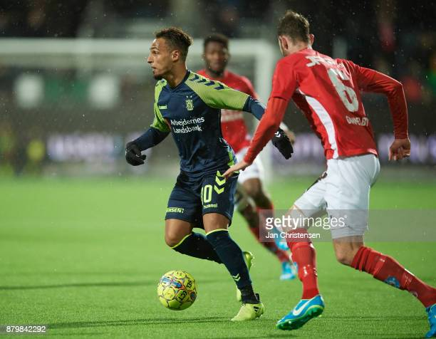 Hany Mukhtar of Brondby IF in action during the Danish Alka Superliga match between Silkeborg IF and Brondby IF at JYSK Park on November 26 2017 in...
