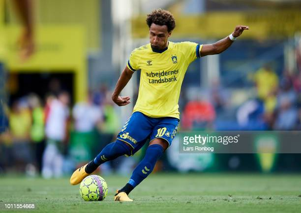 Hany Mukhtar of Brondby IF in action during the Danish Superliga match between Brondby IF and FC Nordsjalland at Brondby Stadion on August 5 2018 in...