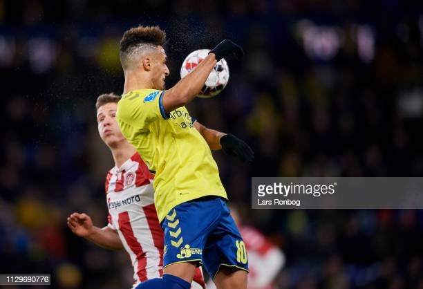 Hany Mukhtar of Brondby IF in action during the Danish Superliga match between Brondby IF and AaB Aalborg at Brondby Stadion on March 10 2019 in...