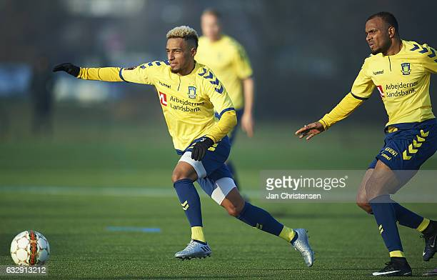 Hany Mukhtar of Brondby IF in action during the preseason friendly match between Brondby IF and Roskilde FC at Brondby Stadion on January 28 2017 in...