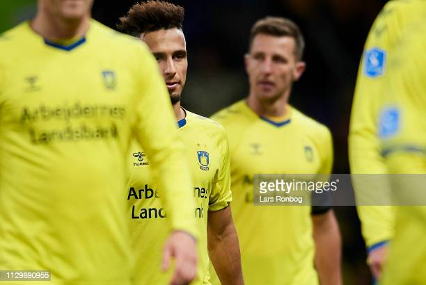 Hany Mukhtar of Brondby IF looks dejected after the Danish Superliga match between Brondby IF and AaB Aalborg at Brondby Stadion on March 10 2019 in...