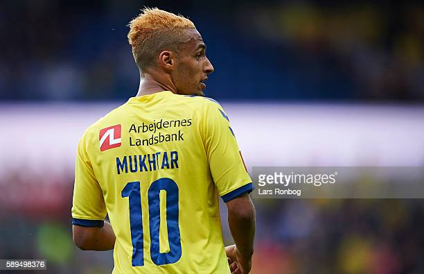Hany Mukhtar of Brondby IF looks on during the Danish Alka Superliga match between Brondby IF and Sonderjyske at Brondby Stadion on August 14 2016 in...