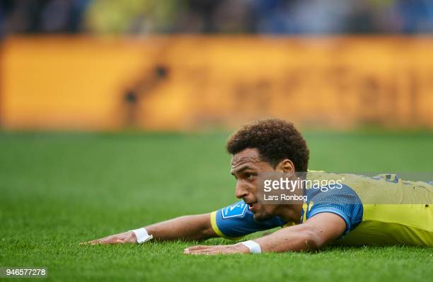 Hany Mukhtar of Brondby IF on the pitch during the Danish Alka Superliga match between Brondby IF and FC Copenhagen at Brondby Stadion on April 15...