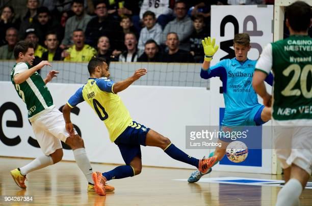 Hany Mukhtar of Brondby IF scores the 20 goal against Goalkeeper Christoffer Petersen of Nastved Boldklub during the indoor football tournament KMD...