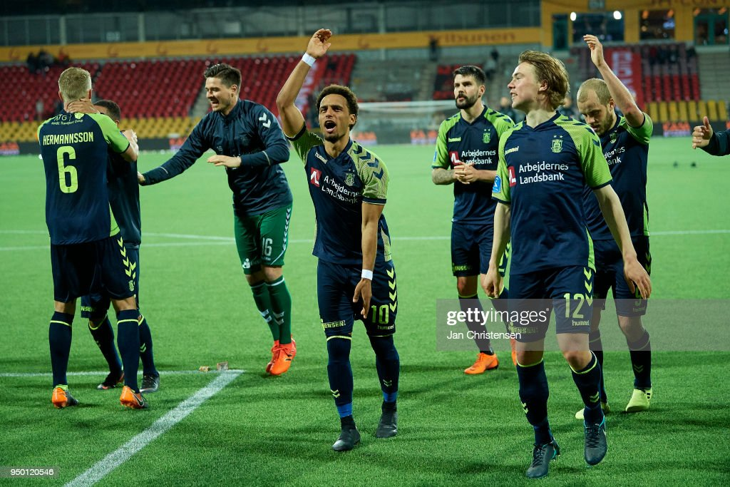 Hany Mukhtar of Brondby IF, Simon Tibbling of Brondby IF and teammates celebrating after the Danish Alka Superliga match between FC Nordsjalland and Brondby IF at Right to Dream Park on April 22, 2018 in Farum, Denmark.