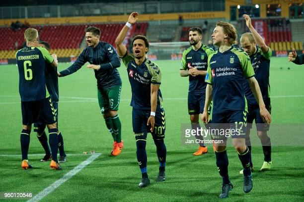 Hany Mukhtar of Brondby IF Simon Tibbling of Brondby IF and teammates celebrating after the Danish Alka Superliga match between FC Nordsjalland and...