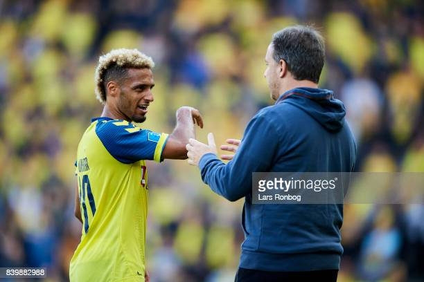 Hany Mukhtar of Brondby IF speaks to Alexander Zorniger head coach of Brondby IF during the Danish Alka Superliga match between Brondby IF and AC...