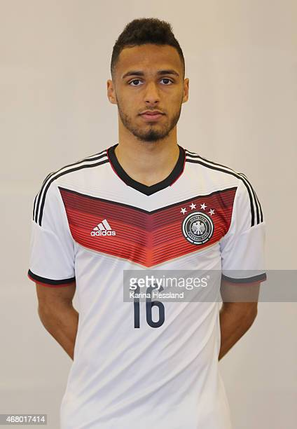 Hany Mukhtar of the German national team poses during the team presentation of U20 Germany on March 29 2015 in Jena Germany