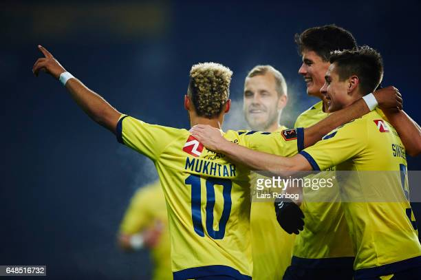 Hany Mukhtar Teemu Pukki Gregor Sikosek and Christian Norgaard of Brondby IF celebrate after scoring their first goal during the Danish Alka...