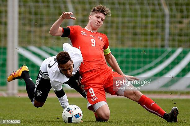 Hany Mukthar of Germany is challenged by Cedric Itten of Switzerland during the U20 International Friendly match between Germany and Switzerland at...