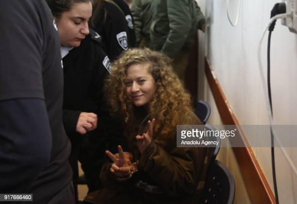 Hanzala Courage Award winner 16yearold Palestinian girl Ahed alTamimi who was detained by Israeli security forces last year makes a victory sign as...