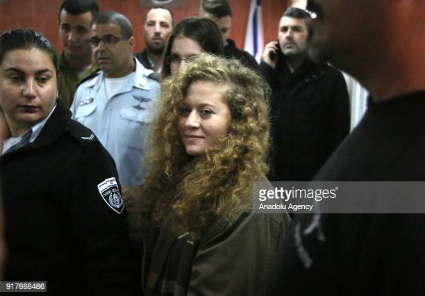 Hanzala Courage Award winner 16yearold Palestinian girl Ahed alTamimi who was detained by Israeli security forces last year arrives in court at Ofer...
