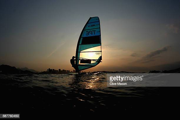 Hao Chang of Chinese Taipei pictured shortly after finishing his RSX class race on Day 4 of the Rio 2016 Olympic Games at the Marina da Gloria on...