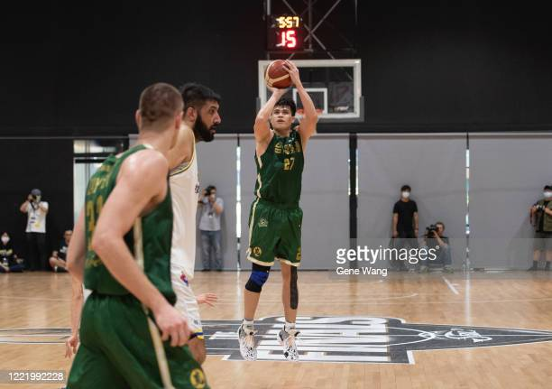 Hao Chi Wang attempts 3 point shot during the SBL Finals Game Six between Taiwan Beer and Yulon Luxgen Dinos at Hao Yu Trainning Center on April 30,...